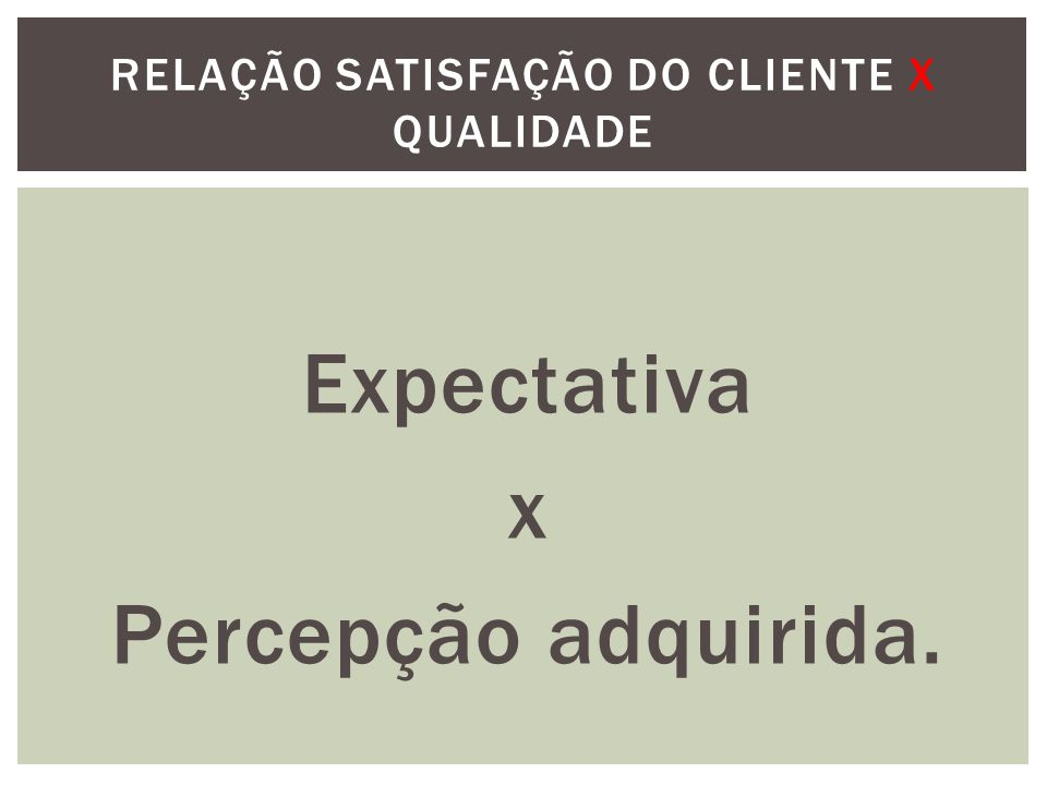 Relação satisfação do cliente x Qualidade