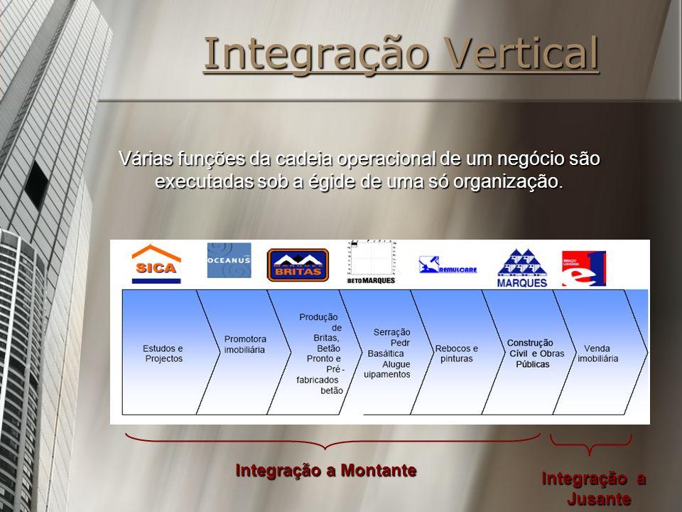 Integração Vertical Várias funções da cadeia operacional de um negócio são executadas sob a égide de uma só organização.