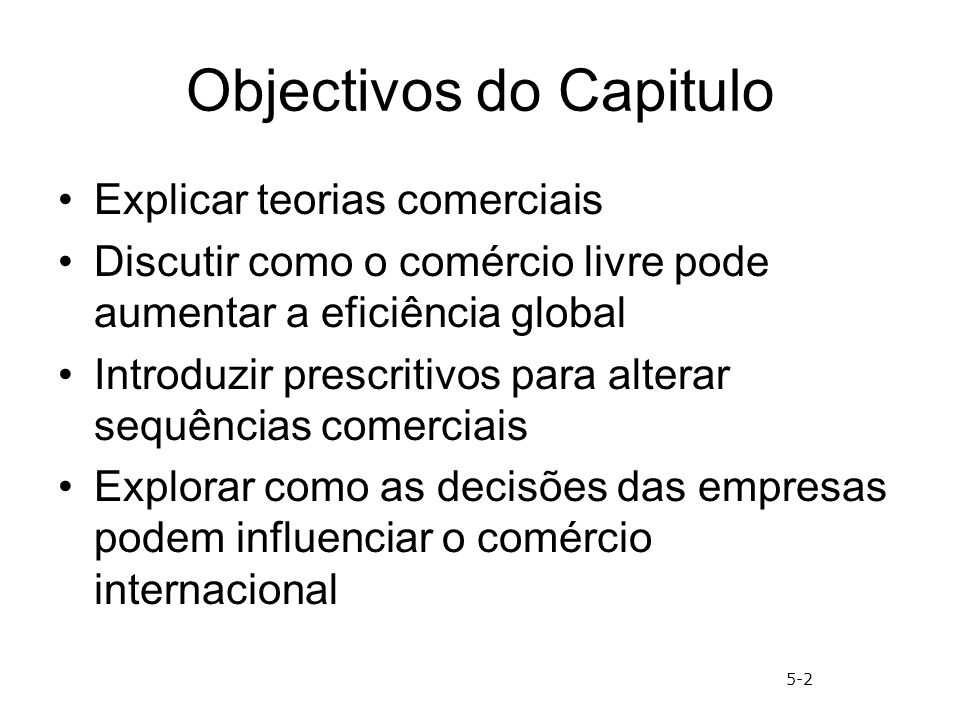 Objectivos do Capitulo
