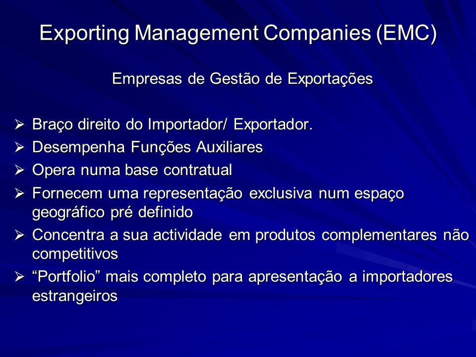 Exporting Management Companies (EMC)