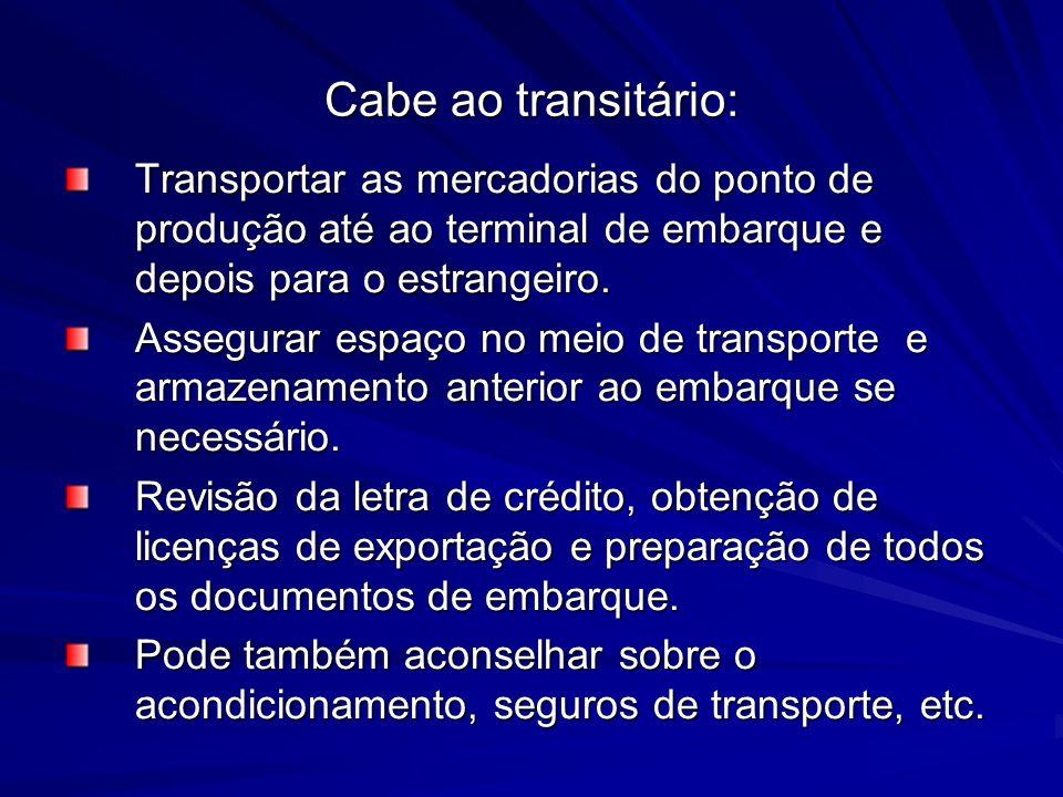 Cabe ao transitário:Transportar as mercadorias do ponto de produção até ao terminal de embarque e depois para o estrangeiro.