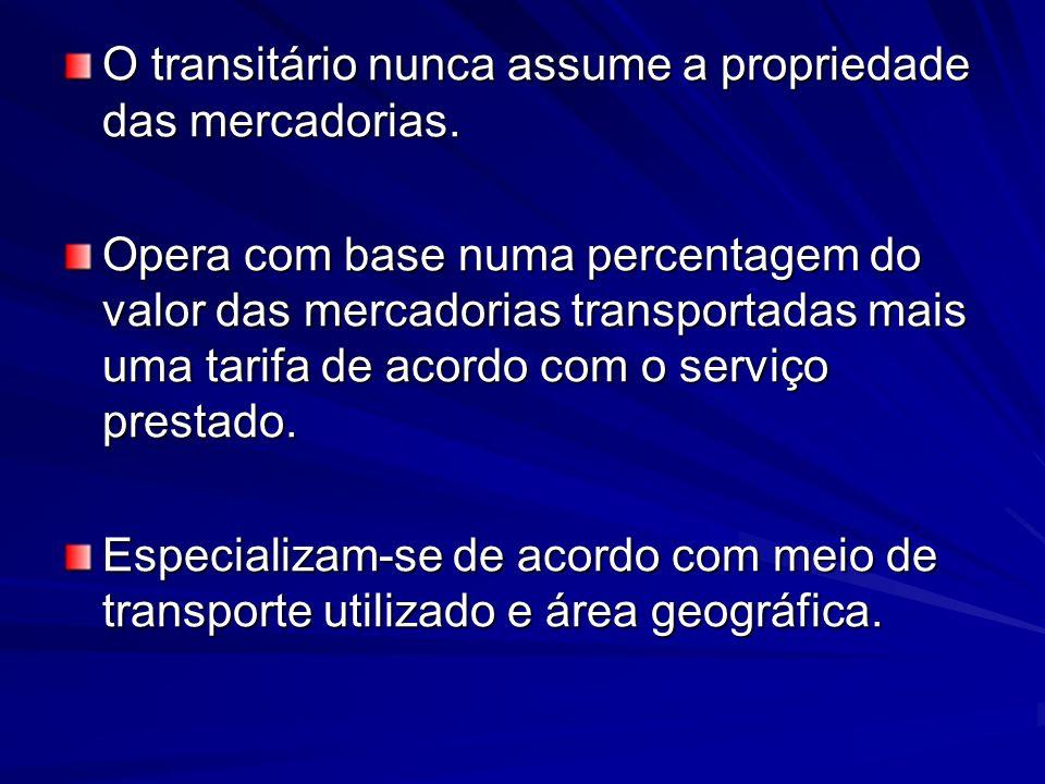 O transitário nunca assume a propriedade das mercadorias.