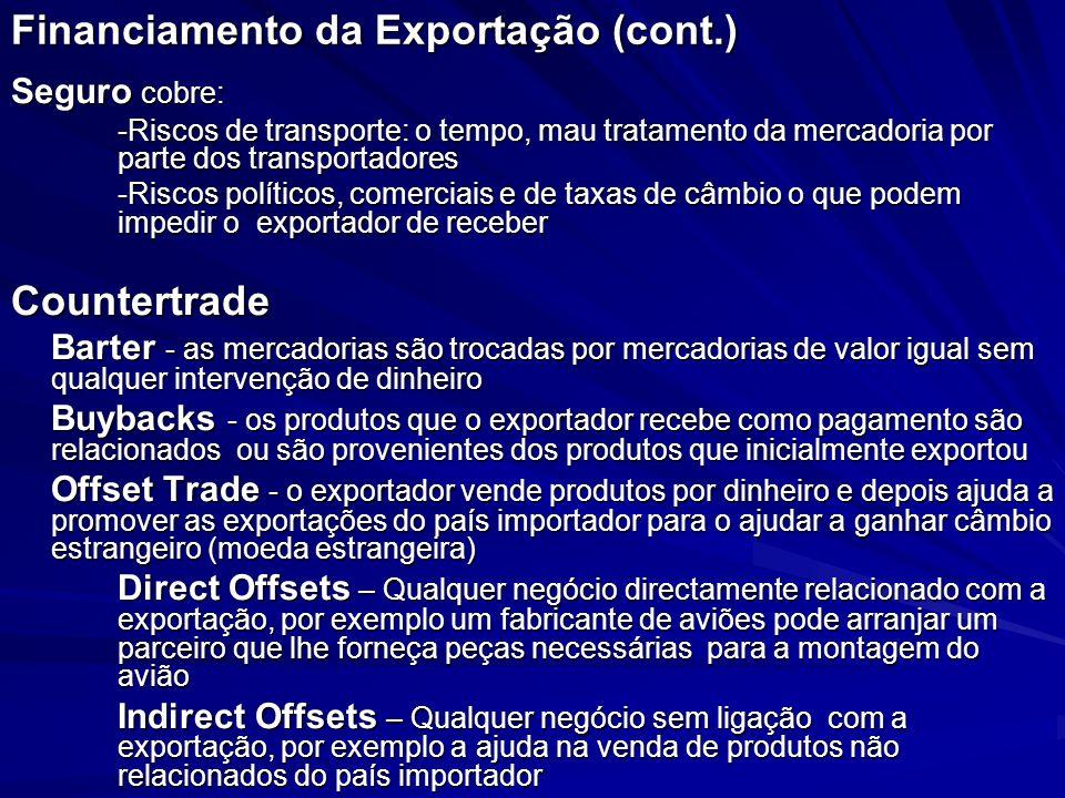 Financiamento da Exportação (cont.)
