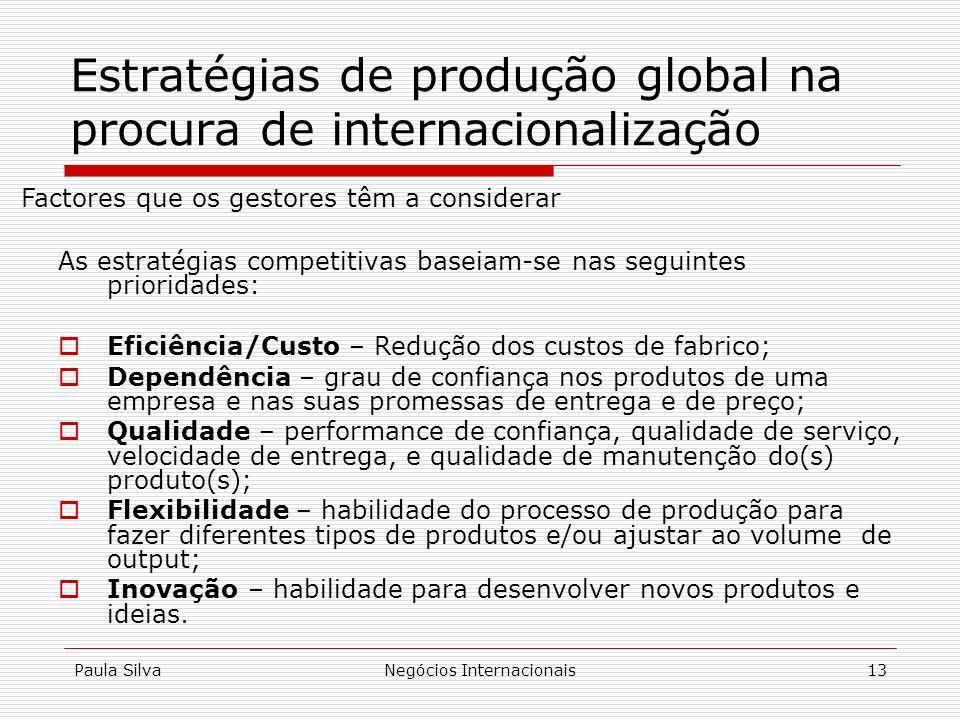 Estratégias de produção global na procura de internacionalização