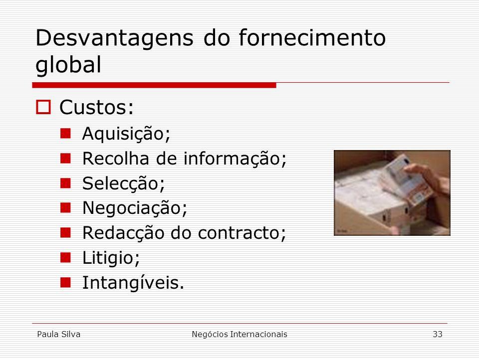 Desvantagens do fornecimento global