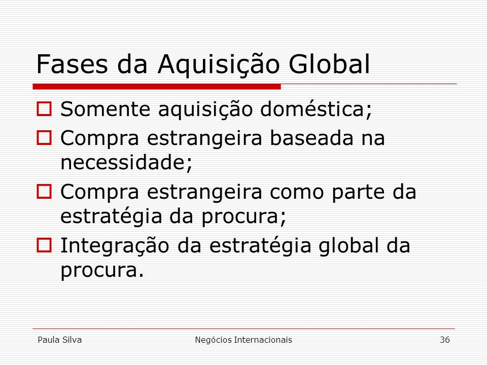Fases da Aquisição Global