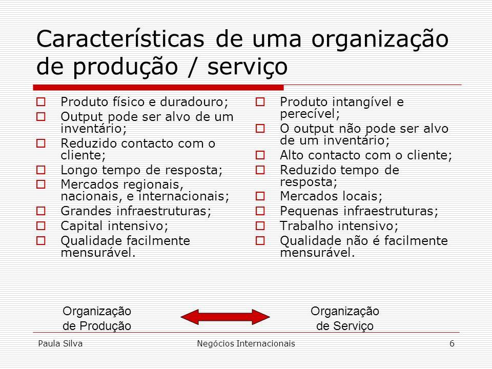 Características de uma organização de produção / serviço