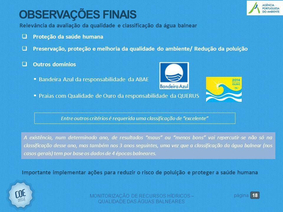OBSERVAÇÕES FINAIS Relevância da avaliação da qualidade e classificação da água balnear. Proteção da saúde humana.