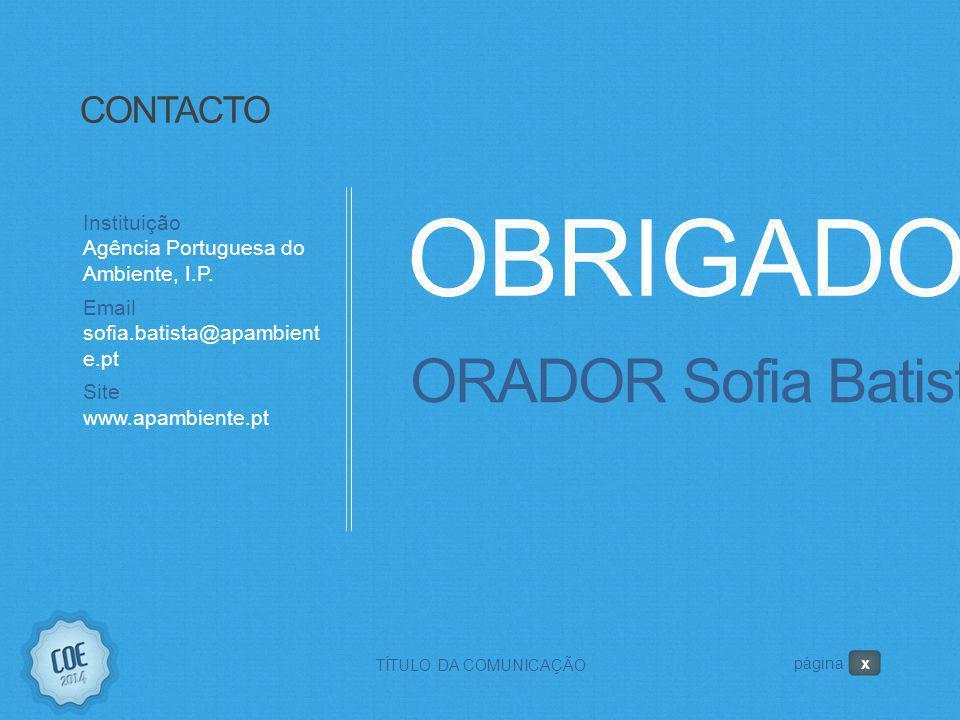 OBRIGADO! ORADOR Sofia Batista CONTACTO