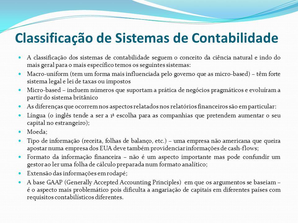 Classificação de Sistemas de Contabilidade