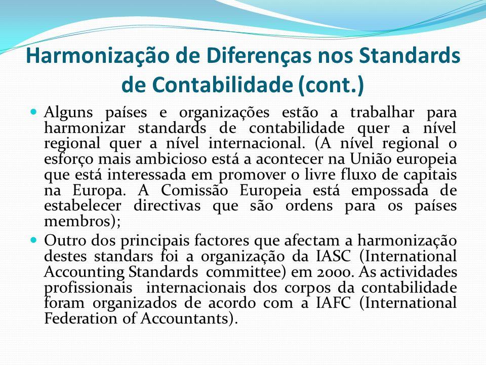 Harmonização de Diferenças nos Standards de Contabilidade (cont.)
