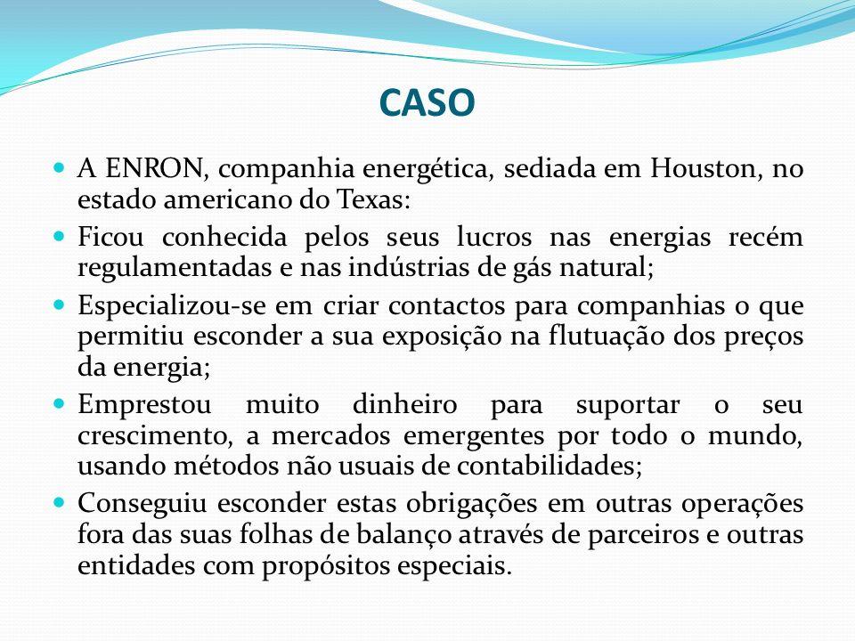 CASO A ENRON, companhia energética, sediada em Houston, no estado americano do Texas: