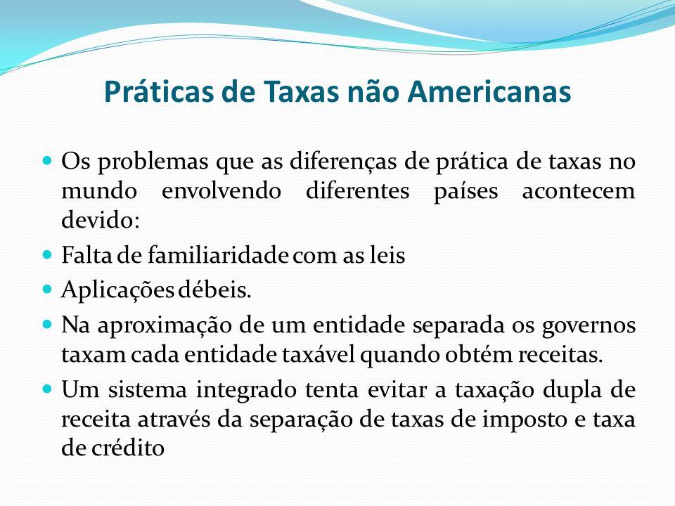 Práticas de Taxas não Americanas