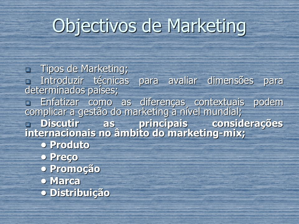 Objectivos de Marketing