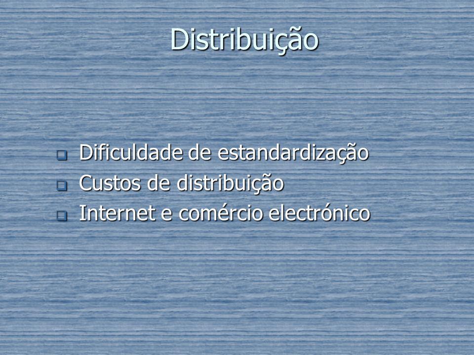 Distribuição Dificuldade de estandardização Custos de distribuição