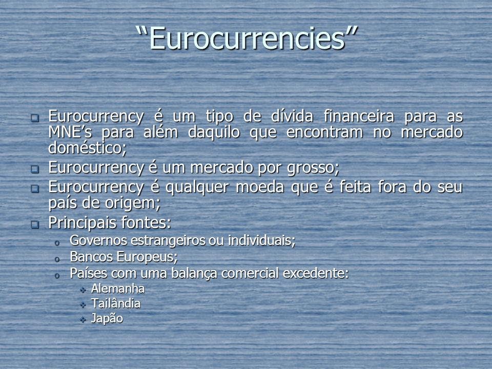 Eurocurrencies Eurocurrency é um tipo de dívida financeira para as MNE's para além daquilo que encontram no mercado doméstico;
