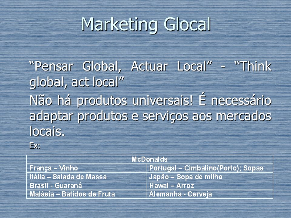 Marketing Glocal Pensar Global, Actuar Local - Think global, act local
