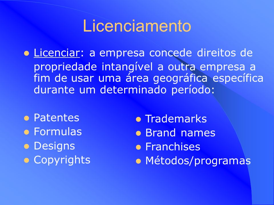 Licenciamento Licenciar: a empresa concede direitos de
