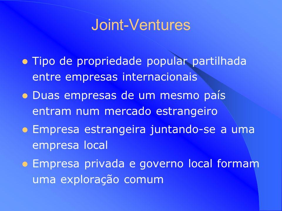 Joint-Ventures Tipo de propriedade popular partilhada entre empresas internacionais. Duas empresas de um mesmo país entram num mercado estrangeiro.