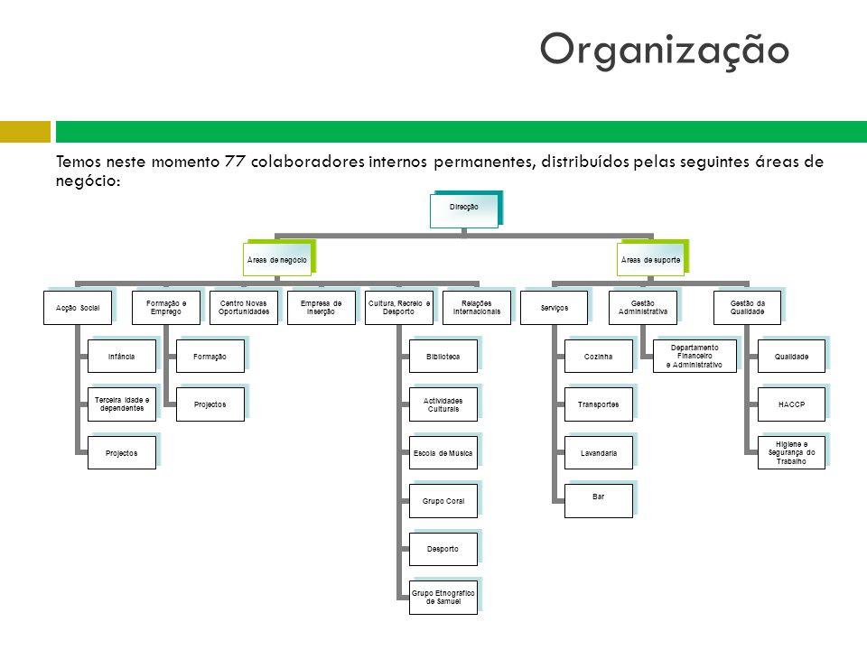 Organização Temos neste momento 77 colaboradores internos permanentes, distribuídos pelas seguintes áreas de negócio: