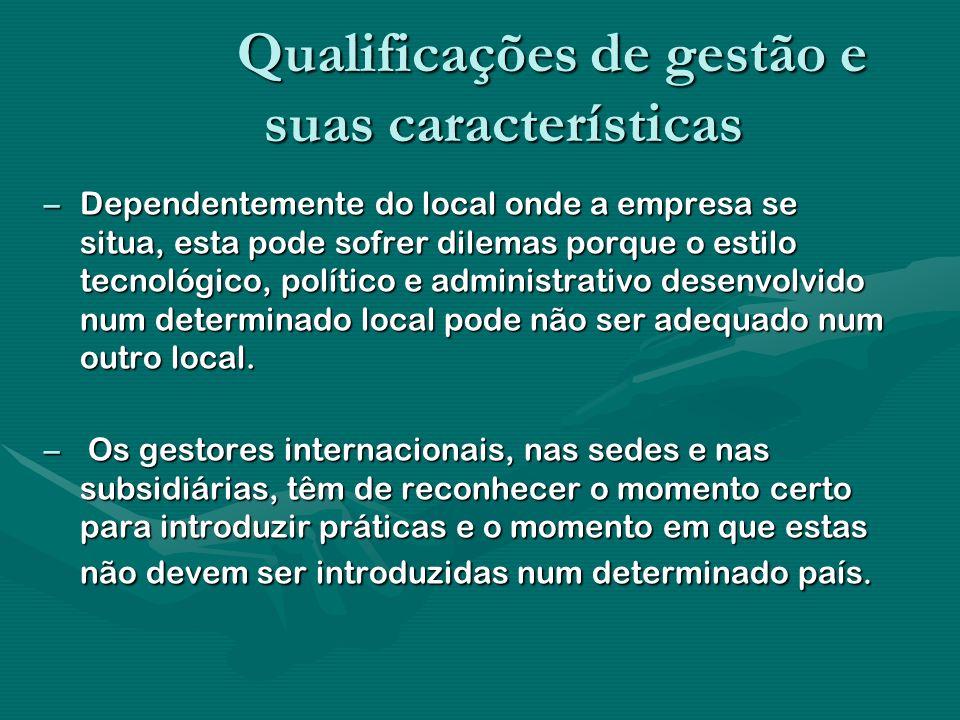 Qualificações de gestão e suas características