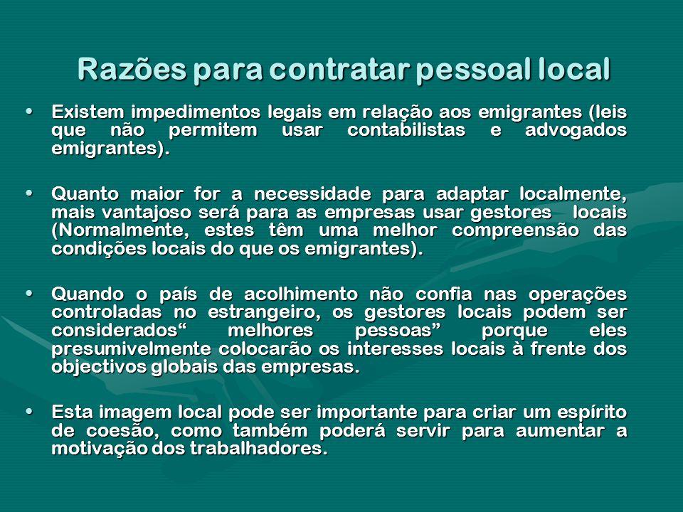 Razões para contratar pessoal local