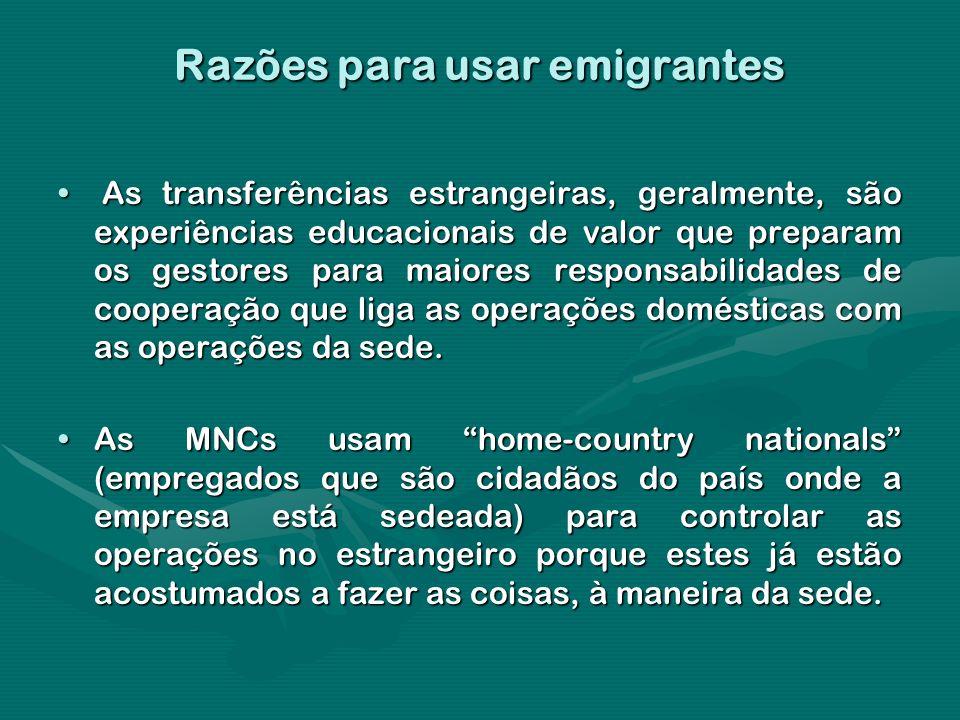 Razões para usar emigrantes