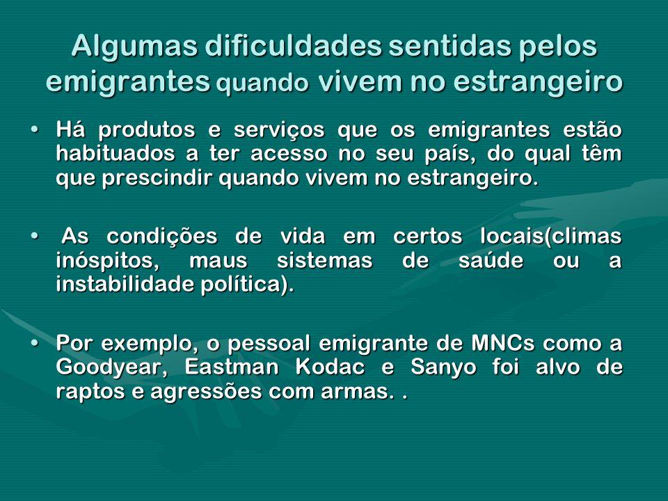 Algumas dificuldades sentidas pelos emigrantes quando vivem no estrangeiro