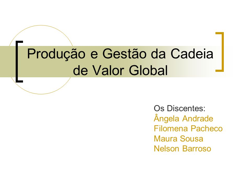 Produção e Gestão da Cadeia de Valor Global