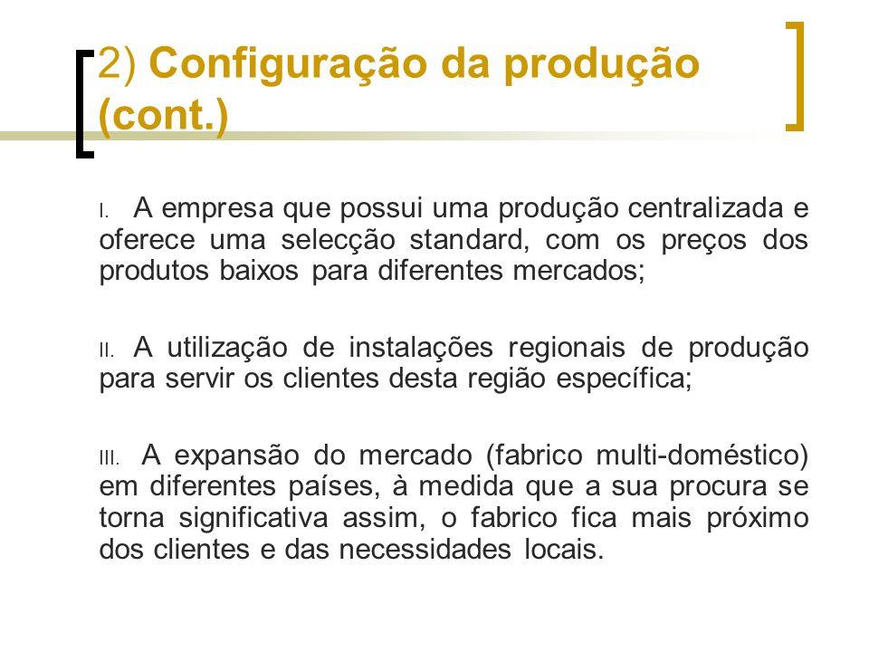 2) Configuração da produção (cont.)
