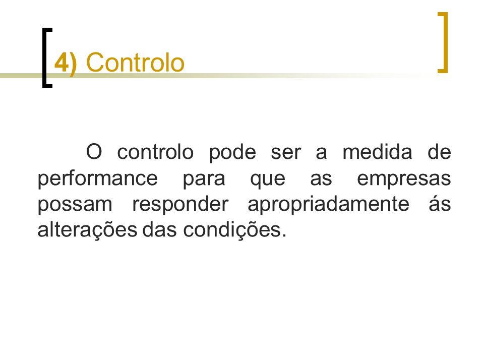 4) Controlo O controlo pode ser a medida de performance para que as empresas possam responder apropriadamente ás alterações das condições.