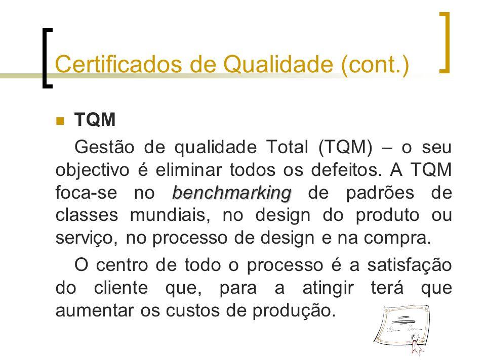 Certificados de Qualidade (cont.)