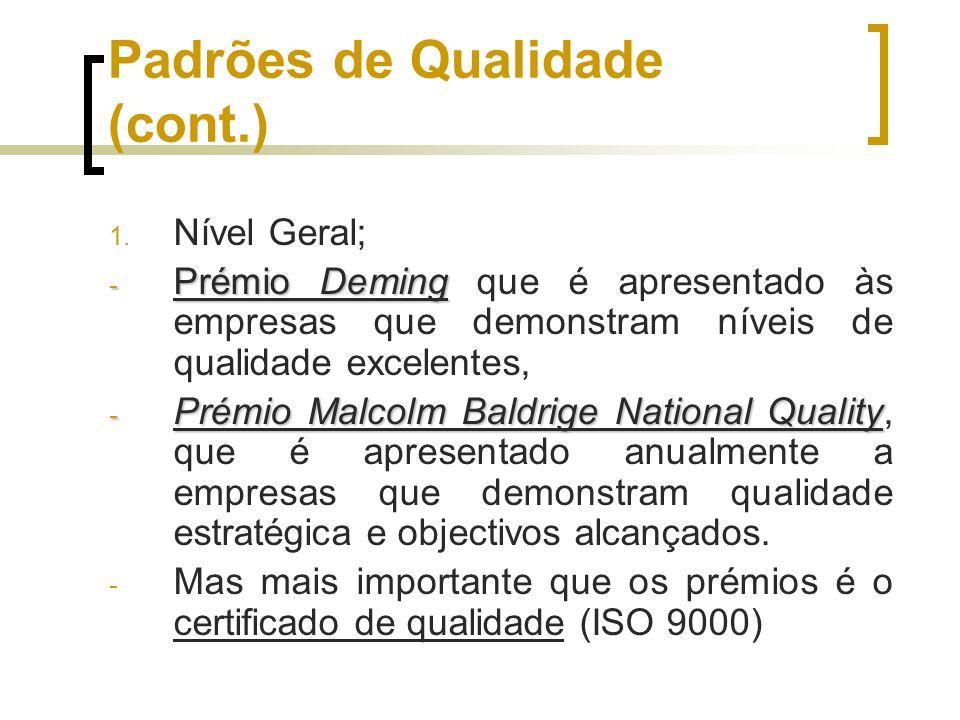 Padrões de Qualidade (cont.)