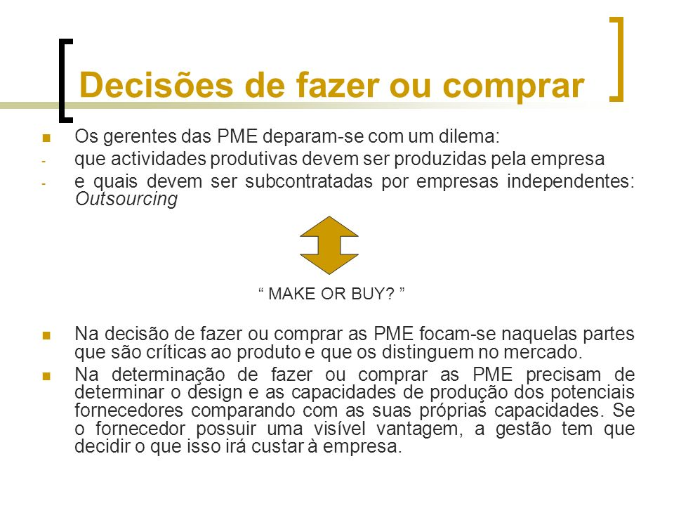 Decisões de fazer ou comprar