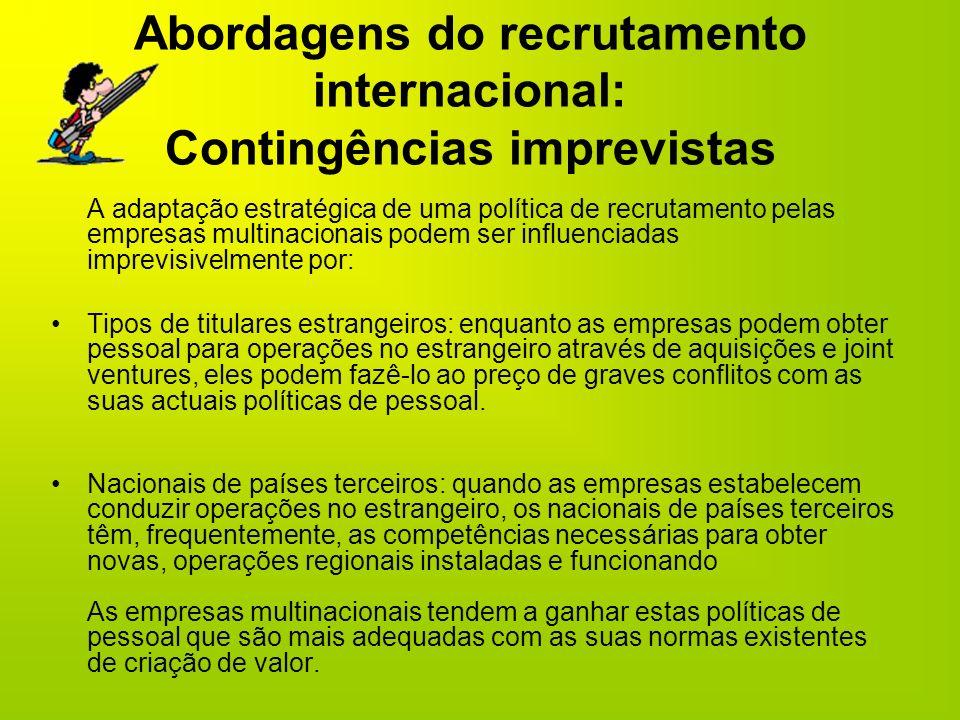 Abordagens do recrutamento internacional: Contingências imprevistas