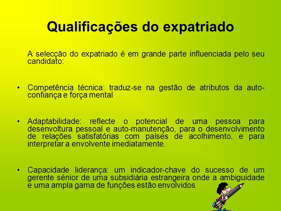 Qualificações do expatriado