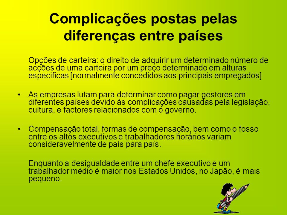 Complicações postas pelas diferenças entre países