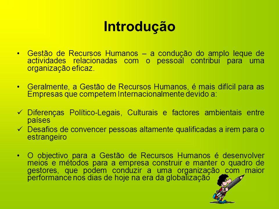 IntroduçãoGestão de Recursos Humanos – a condução do amplo leque de actividades relacionadas com o pessoal contribui para uma organização eficaz.
