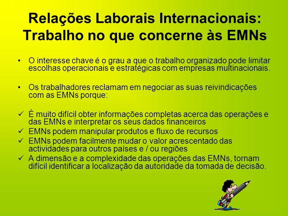 Relações Laborais Internacionais: Trabalho no que concerne às EMNs