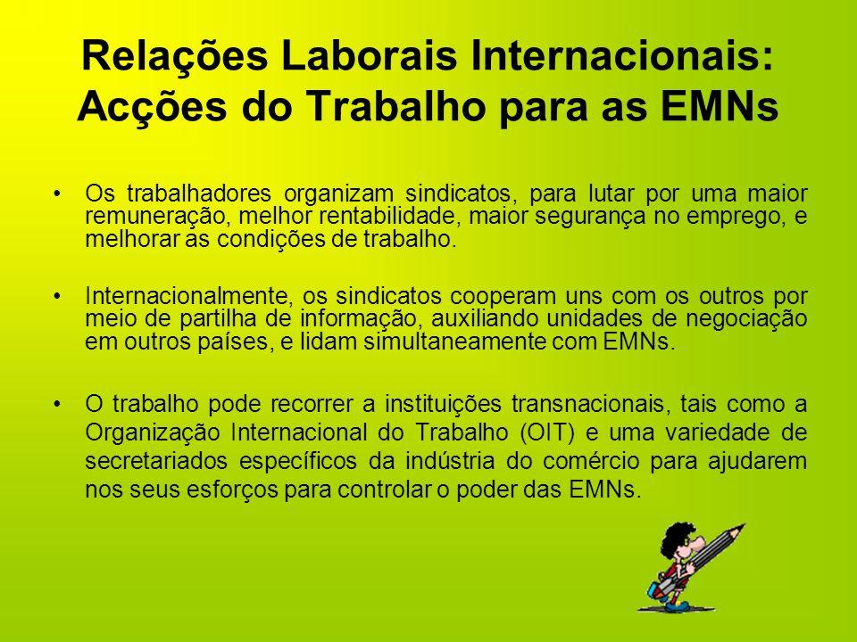 Relações Laborais Internacionais: Acções do Trabalho para as EMNs