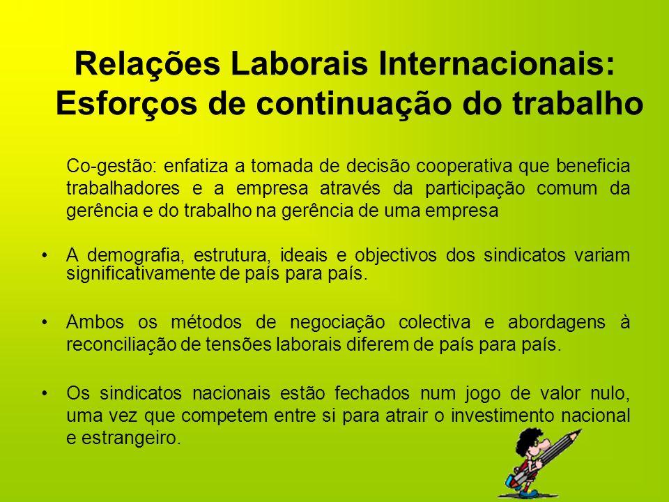 Relações Laborais Internacionais: Esforços de continuação do trabalho
