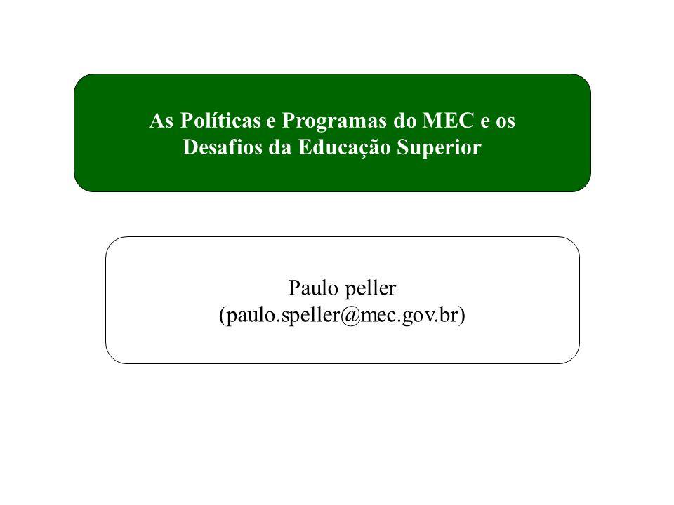 As Políticas e Programas do MEC e os Desafios da Educação Superior