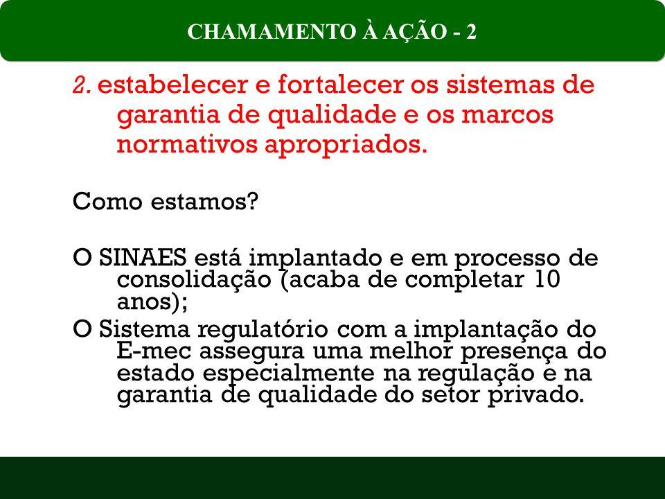 CHAMAMENTO À AÇÃO - 2 2. estabelecer e fortalecer os sistemas de garantia de qualidade e os marcos normativos apropriados.