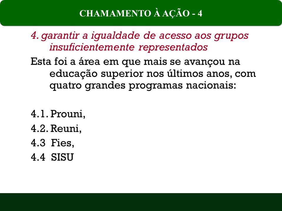 CHAMAMENTO À AÇÃO - 4 4. garantir a igualdade de acesso aos grupos insuficientemente representados.