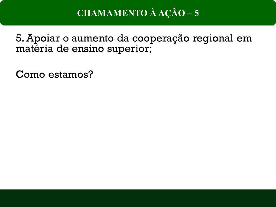 CHAMAMENTO À AÇÃO – 5 5. Apoiar o aumento da cooperação regional em matéria de ensino superior; Como estamos