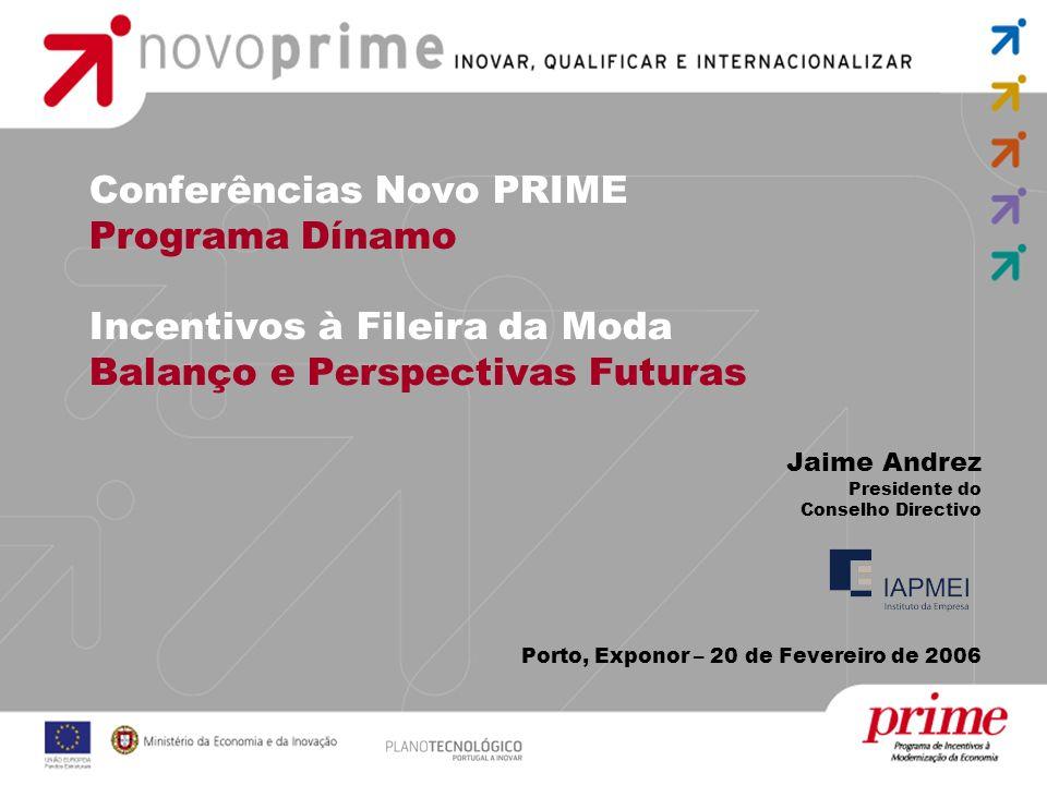 Conferências Novo PRIME Programa Dínamo Incentivos à Fileira da Moda Balanço e Perspectivas Futuras