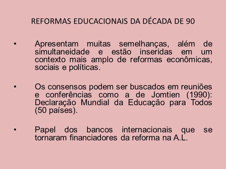 REFORMAS EDUCACIONAIS DA DÉCADA DE 90