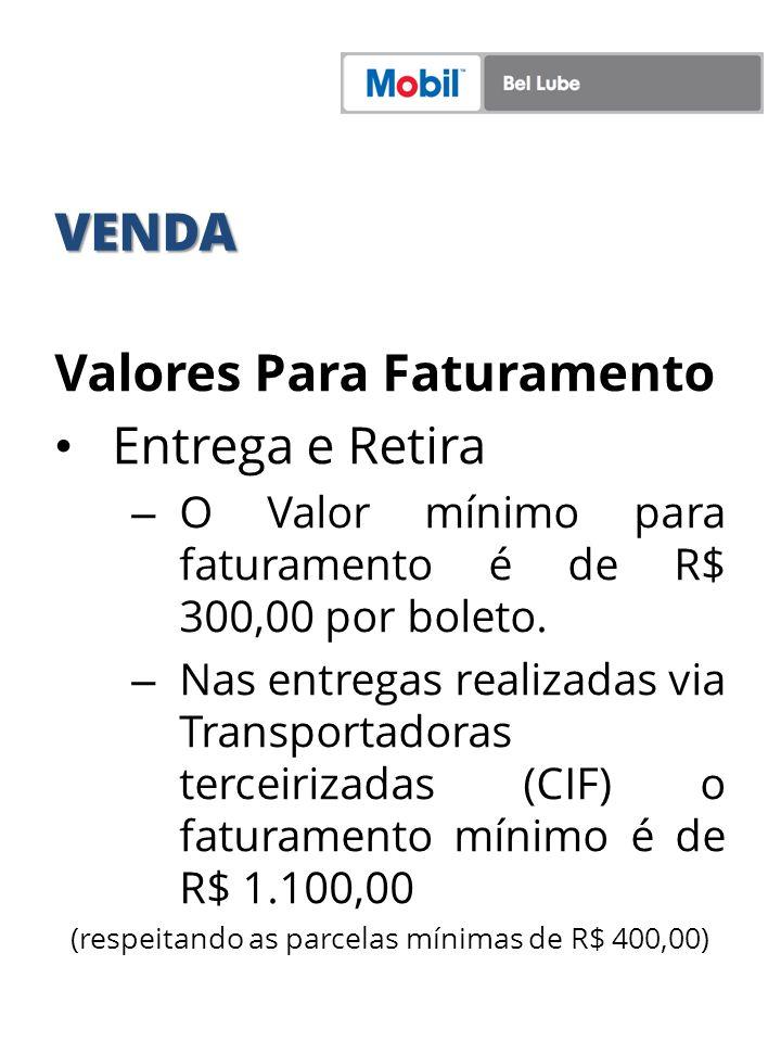 (respeitando as parcelas mínimas de R$ 400,00)