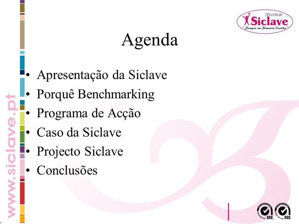 Agenda Apresentação da Siclave Porquê Benchmarking Programa de Acção