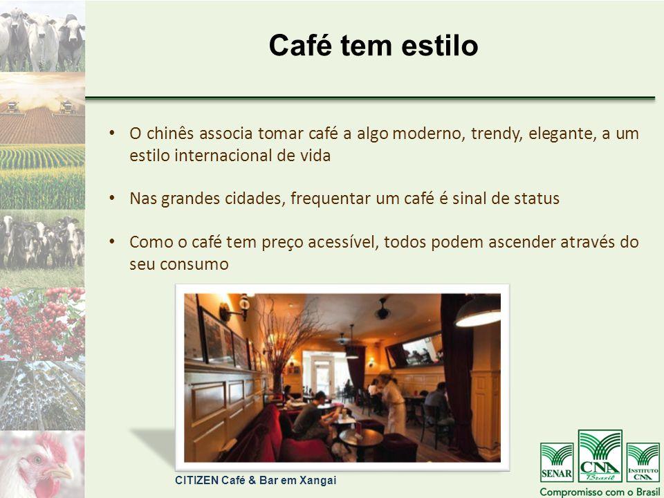Café tem estilo O chinês associa tomar café a algo moderno, trendy, elegante, a um estilo internacional de vida.